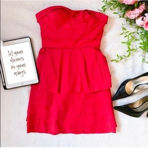 BCBGMAXAZRIA red strapless poplin tiered dress